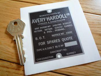 "Avery-Hardoll BOT Notice No 1000 Petrol Pump Sticker. 3""."