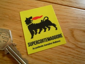 Supercortemaggiore 'Benzina Italiana' Window Stickers. 54mm Pair.