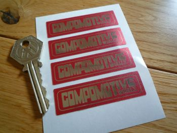 Compomotive Wheels Red & Foil Rim Stickers. Set of 4. 60mm.