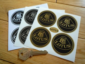Lotus Wheel Centre Stickers. 40mm, 45mm, 50mm, or 60mm. Set of 4.