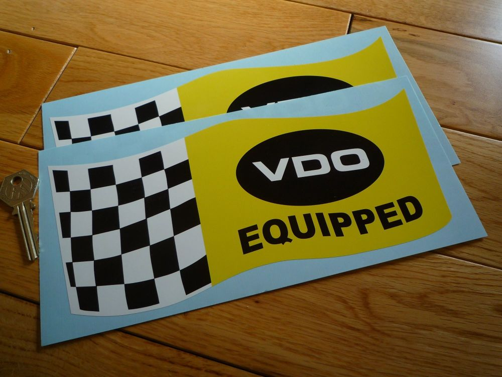 VDO Equipped Wavy Chequered Flag Stickers. 5