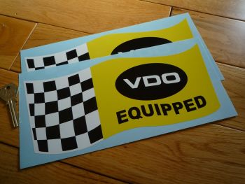 "VDO Equipped Wavy Chequered Flag Stickers. 5"" or 10"" Pair."