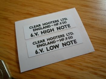 Clear Hooters High & Low Note 6.V Horn Stickers. 38mm x 12mm Pair.