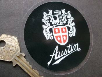 "Austin Crest Window Sticker. 3.25""."
