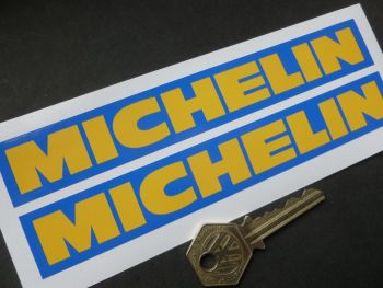 """Michelin Deep Yellow Text on Blue Oblong Stickers. 6.5"""" Pair."""