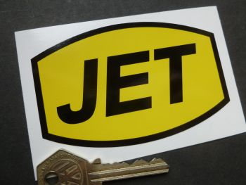 "JET Petrol Old Style Barrel Shaped Sticker. 4""."