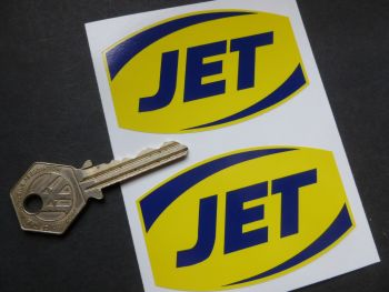"""JET Petrol Later Style Barrel Shaped Stickers. 3"""" Pair."""