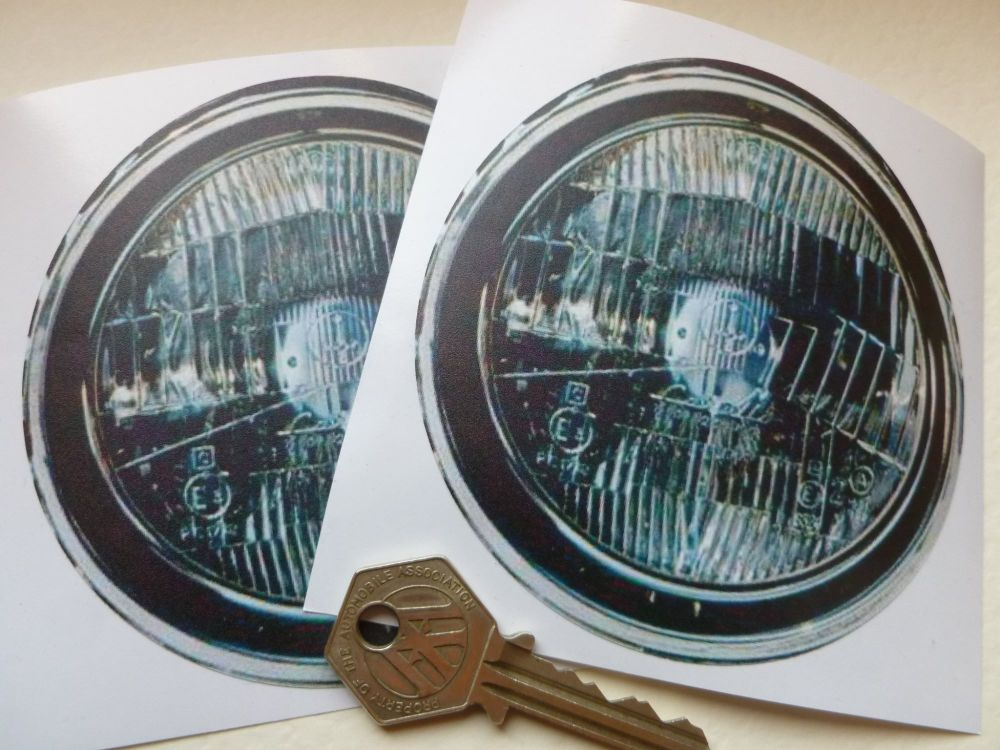 "False Faux Spotlamps Driving Headlamps Stickers. Pedal Car Funny Car Bike Race Car. 4"" Pair."