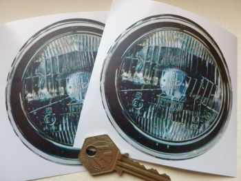 "False Faux Spotlamps Driving Headlamps Stickers. Pedal Car Funny Car Bike Race Car. 4"" Pair."