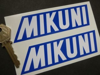 "Mikuni Blue & White Stickers. 5"" Pair."