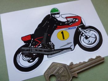 "MV Agusta GP Racer Pudding Basin Rider Sticker. 4""."