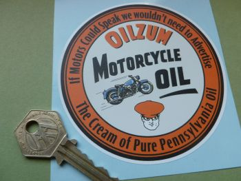 "Oilzum Motorcycle Oil Sticker. 4""."