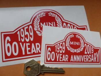 "Mini 60th Year Anniversary 1959 - 2019 Window or Body Sticker. 4"" or 6""."