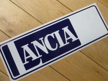 "Lancia Large Oblong White, & Blue Sticker. 13""."