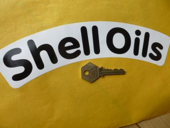 """Shell Oils Black & White Rounded and Curved Text Stickers. 10"""" Pair."""