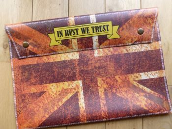 Rusty Union Jack Style Document Holder Bag - In Rust We Trust  - A4