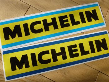 """Michelin Large Light or Dark Blue & Yellow Oblong Stickers. 13.75"""" Pair."""