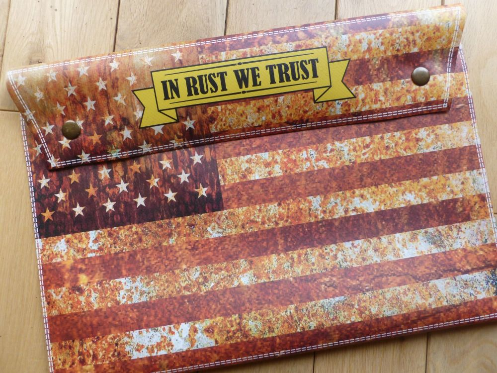 'In Rust we Trust' Stars and Stripes USA style Document Holder bag.  A4.