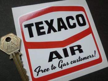 "Texaco Air 'Free to Gas Customers' Sticker. 4""."