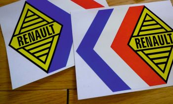 "Renault Alpine Gordini Tricola Yellow Middle Stickers. 12.5"" Pair."