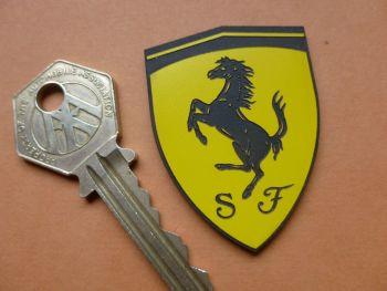 """Ferrari Yellow and Black Laser Cut Self Adhesive Car Badge. 2""""."""