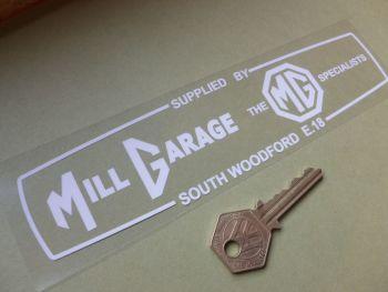 """Mill Garage South Woodford MG BMC British Leyland Dealer Sticker. 8""""."""