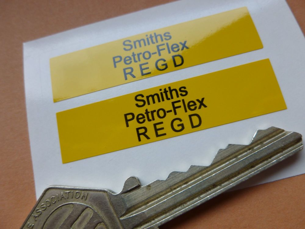 "Smiths Petro-Flex REGD Yellow Petrol Pipe Stickers. 2"" Pair."