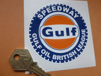 "Gulf Speedway Gulf Oil British League Body or Window Sticker. 3""."