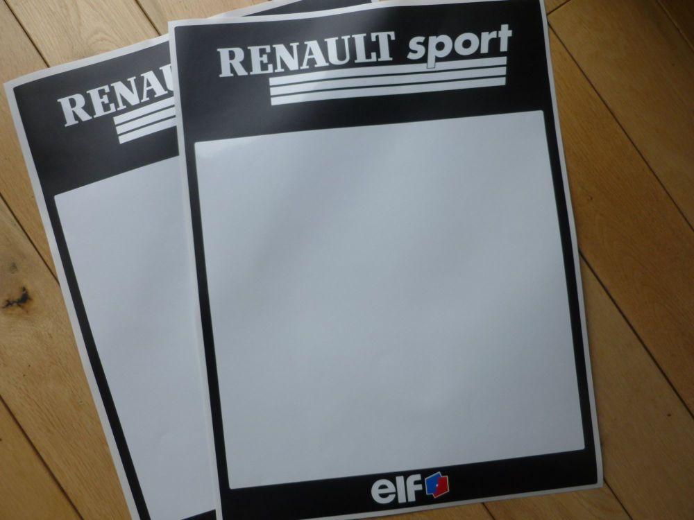 Renault Sport Elf Tall Style Race Car Door Panel Stickers. 300mm x 400mm Pair.