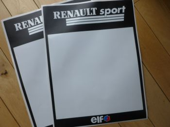 "Renault Sport Elf  Black & White Race Car Door Panel Stickers. 16 x 12"" "" Pair."