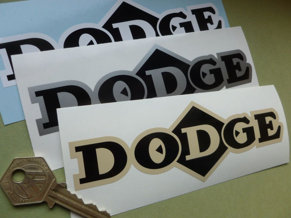 "Dodge Diamond Text Sticker. Various Colours. 6.25""."