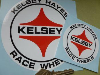"""Kelsey Hayes Race Wheels Circular Stickers. 3"""" or 5"""" Pair."""