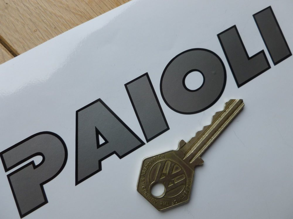"Paioli Black & Silver Cut Text Stickers. 6"" or 8"" Pair."