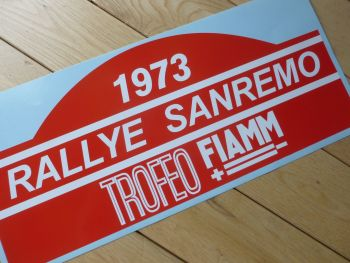 "Rallye Sanremo 1973 or 1975 Rally Plate Style Sticker. 16""."