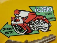 A.Orio Bivio Solonghello Italian Motorcycle Dealers Sticker. 65mm.