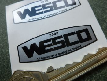 Wesco 3320 Birmingham, England, Oil Can Stickers. 45mm Pair.