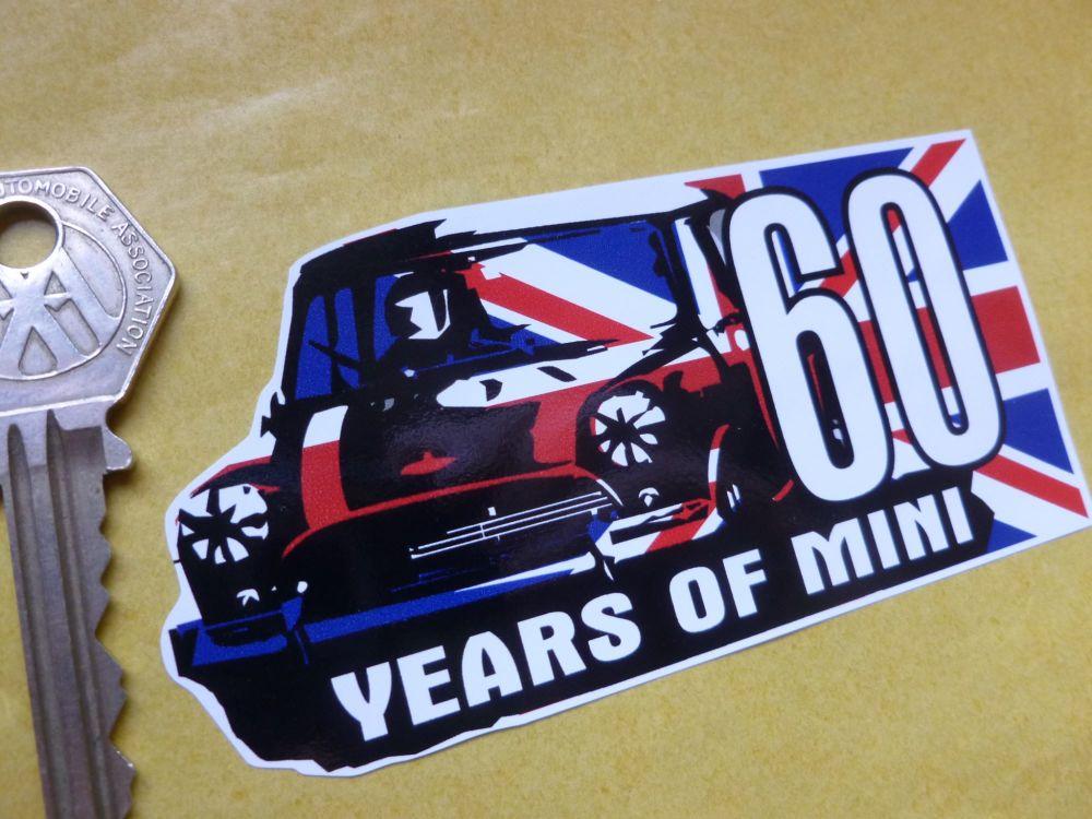 "Mini '60 Years of Mini' Union Jack Sticker. 4""."
