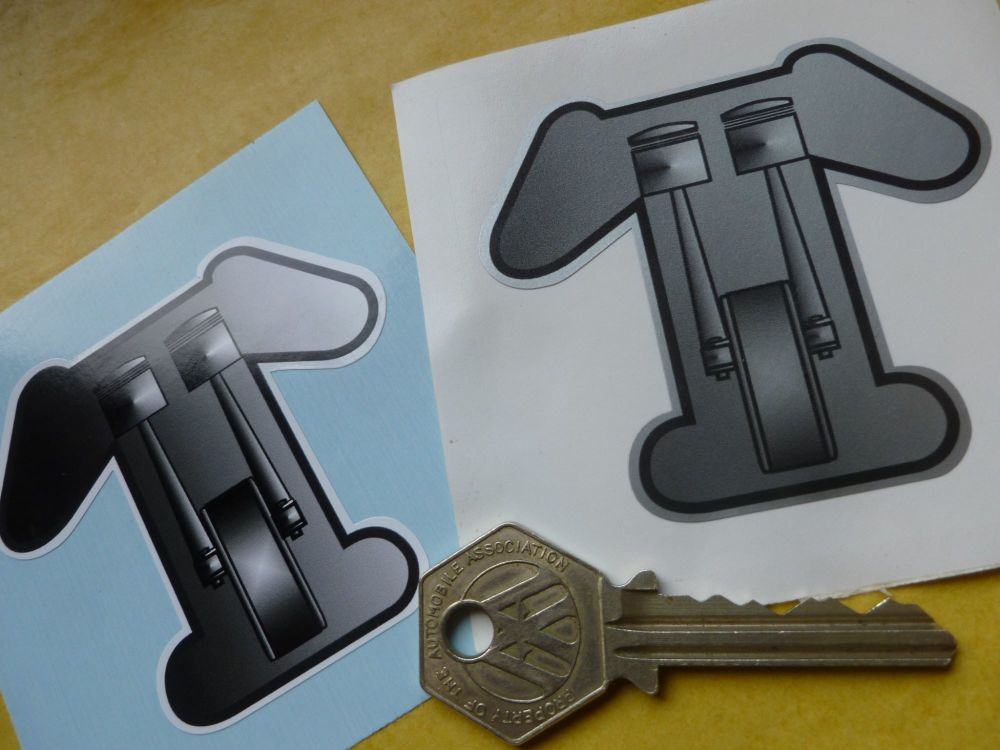 Triumph Crank, Pistons & Rods 'T' Stickers. 2.75