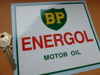 "BP Energol Motor Oil Rally Car, Oil Dispenser, Can, or Drum Sticker. 5.75""."