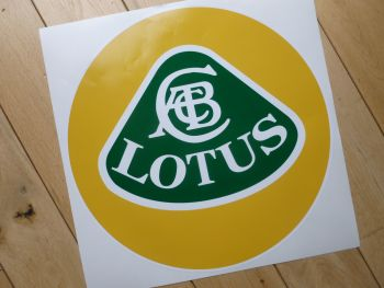 "Lotus Yellow, Green, & White Circular Logo Sticker. 12""."