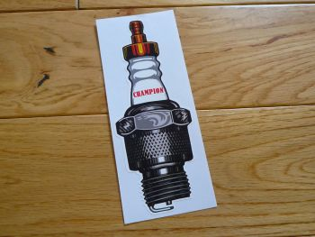 "Champion Shaped Spark Plug Old Style Sticker. 6"" or 12""."