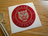 Jaguar Coventry Red & Silver Growler Sticker. 50mm.