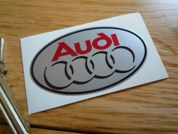 "Audi Rings Small Oval Sticker. 2.5""."