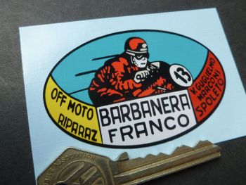 Franco Barbanera Italian Motorcycle Dealers Sticker. 70mm.
