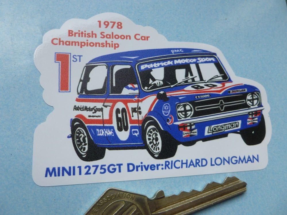 """Mini 1275GT 1978 British Saloon Car Championship Sticker. 4""""."""