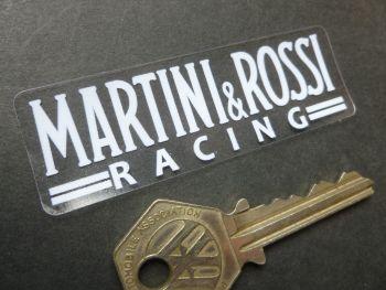 "Martini & Rossi Racing White & Clear Window Sticker. 3""."