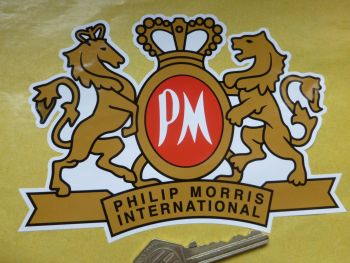 "Philip Morris International Crest Shaped Sticker. 6""."