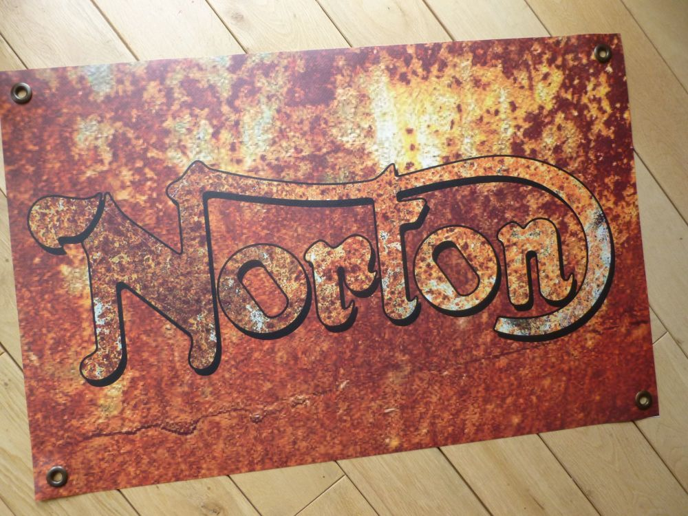 "Norton Rust Effect Banner Art. 26"" x 20""."