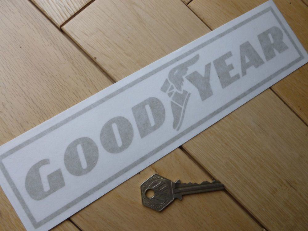"Goodyear Text, Winged Shoe, & Outline Cut Vinyl Stickers. 10"" Pair."