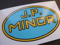 "JP Minor Oil Can Oval Shaped Sticker. 4""."